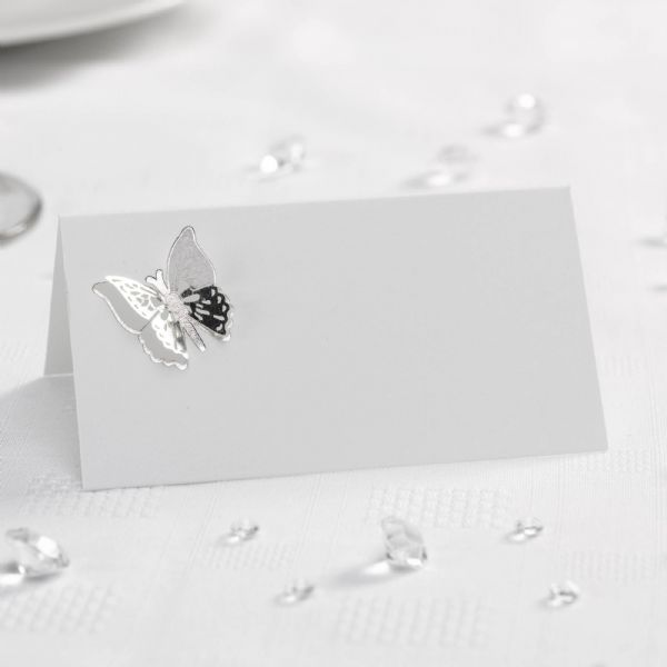 Elegant Butterfly 3D Place Cards - White & Silver (10)